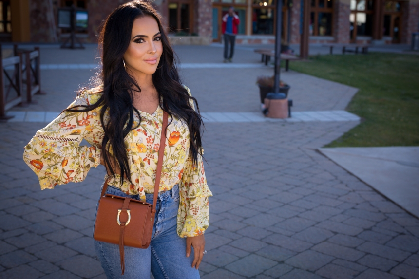 pale yellow bright peasant blouse ruffles outfit