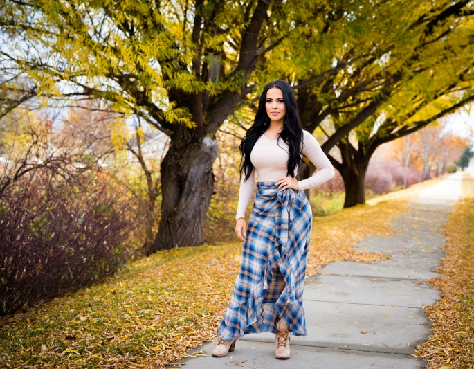 plaid ruffle maxi skirt