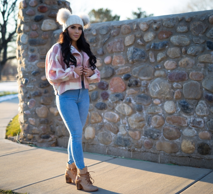 pink plaid outfit ideas